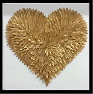 Heart Feather Gold Art